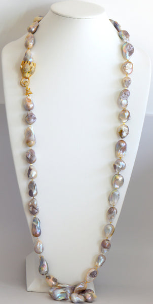 Heftsi Baroque Freshwater Iridescent Pink Pearl Necklace