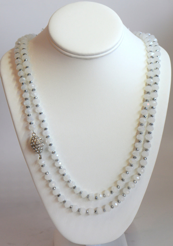Heftsi Long White And Silver Crystal Necklace With Side Magnet Clasp