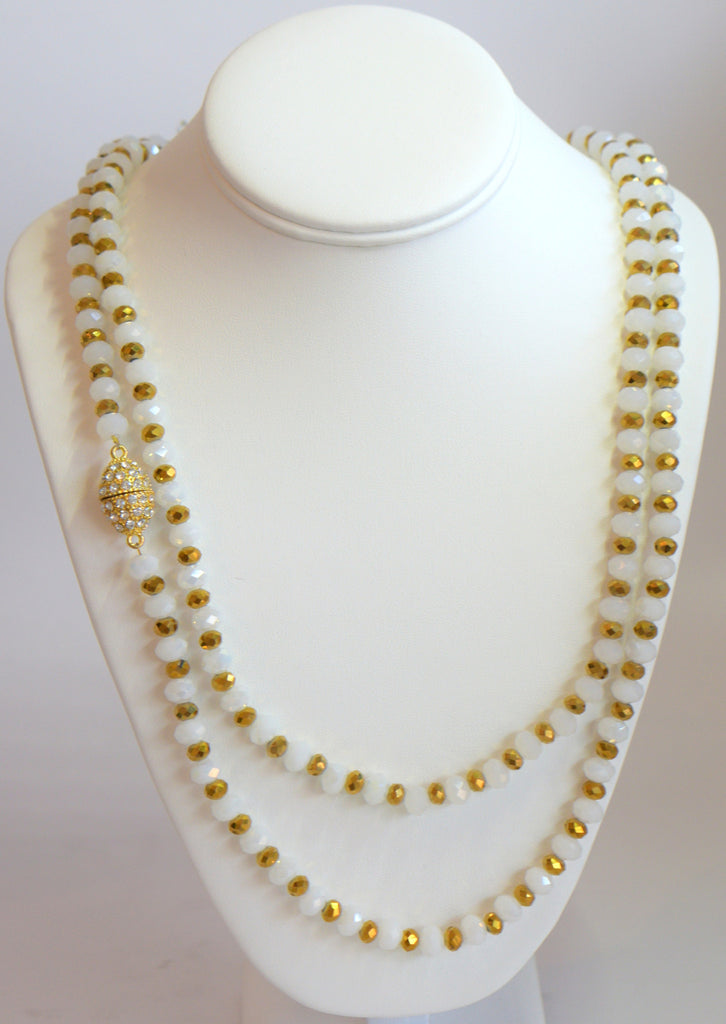Heftsi Long White And Gold Crystal Necklace With Side Gold Magnet Clasp