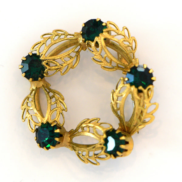 Heftsi Vintage Green Cubic Zirconia and Gold Broche