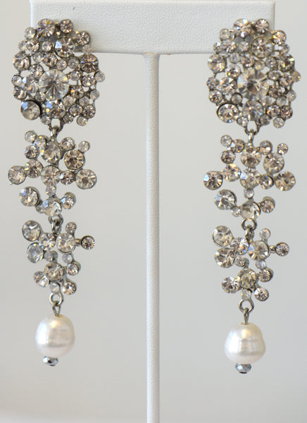 Heftsi Pearls Earrings And Clear Rhinestone, Wedding Collection