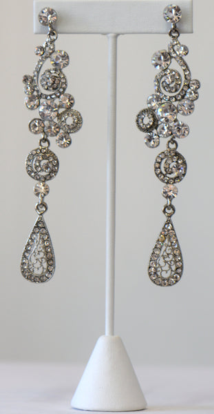 Heftsi Clear Rhinestone Earrings Wedding collection