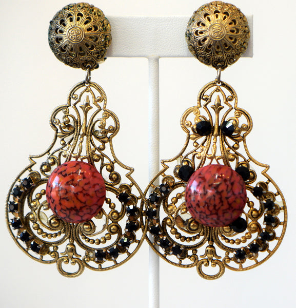 Vintage Long And Bold Earrings With Center Stone