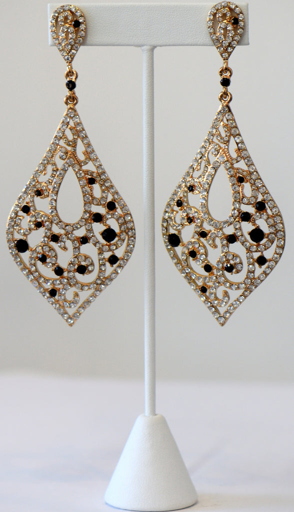 Heftsi Gold plated Long Earrings With Black Accent