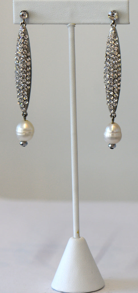 Heftsi Clear Stone Drop Earrings with Fresh Water Pearls at the end