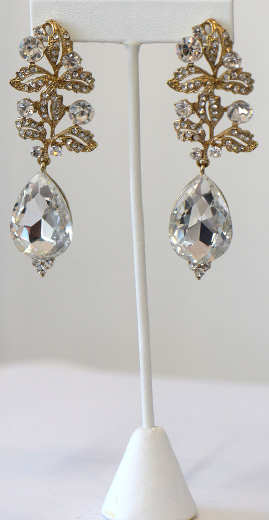Heftsi Gold With A Clear Crystal Drop Earrings, Wedding Collection