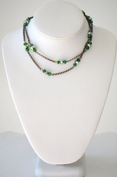 Green Crystal Necklace With Black Chain