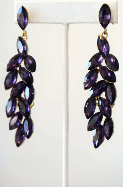 Heftsi Purple Cubic Zircon Long earrings