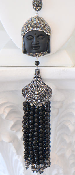 Black Buddha Long Tassel Necklace