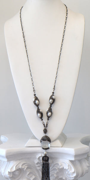 Heftsi Small Buddha Head , Long Necklace With Black Pave Around And Hematite Tassel.