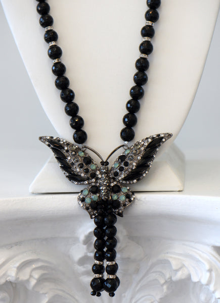 Heftsi Black Onyx Butterfly Long Necklace