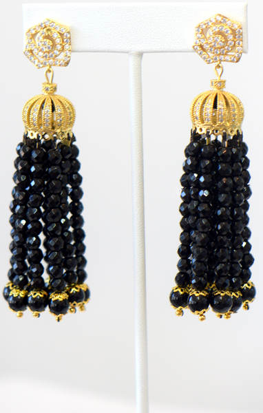 Heftsi Black Onyx Tassel Earrings