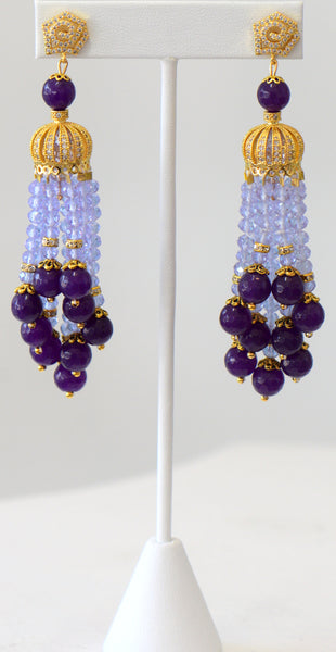 Heftsi Purple Crystal And Amethyst Tassel Earrings