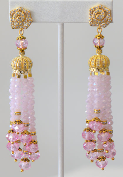 Heftsi Baby Pink Tassel  Earrings With Gold Accent