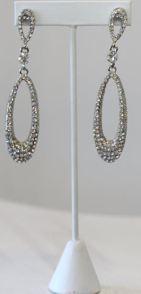 Clear Cubic Zirconia Long Earrings