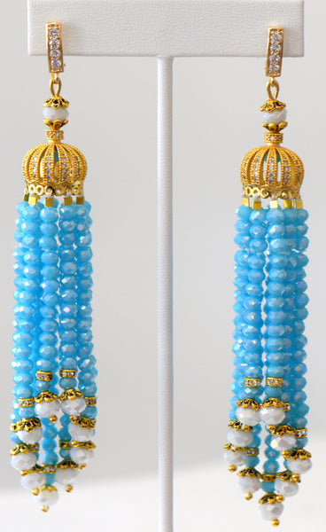 Heftsi Blue Tassel Earrings
