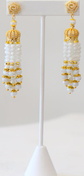 Heftsi White And Gold Tassel Earrings, Wedding Collections