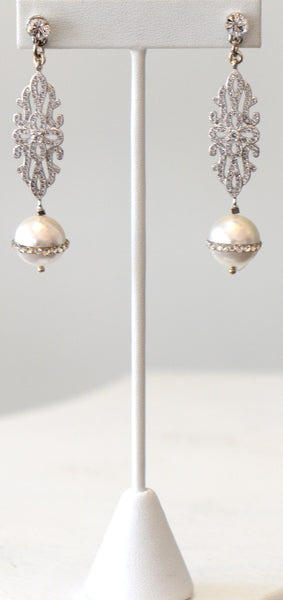 Pearls with reinstone Wedding Earrings