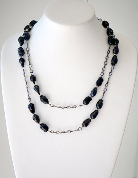 "Black Baroque pearl necklace with reinston Chain 42"" Long"