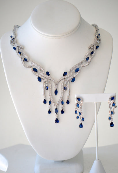 Cubic zirconia blue And Clear wedding necklace With Matching earnings