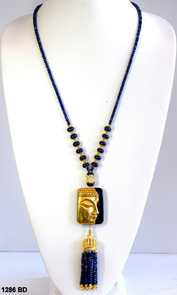 Heftsi Lapis And Gold Buddha Necklace