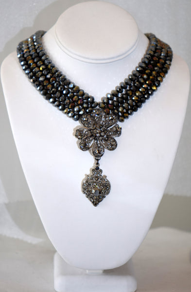 Grey Czech republic 4 row crystals necklace with flower center piece