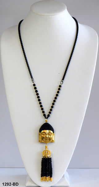Heftsi Gold Buddha Pendant With Black Onyx And Gold Hematite For Rent Or Buy