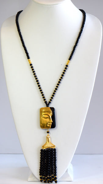 Heftsi Black Buddha Tassel Necklace With Natural Black Onyx For Rent Or Buy