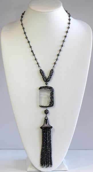 Heftsi Clear Buddha With Black Pave Tassel Necklace For Rent Or Buy