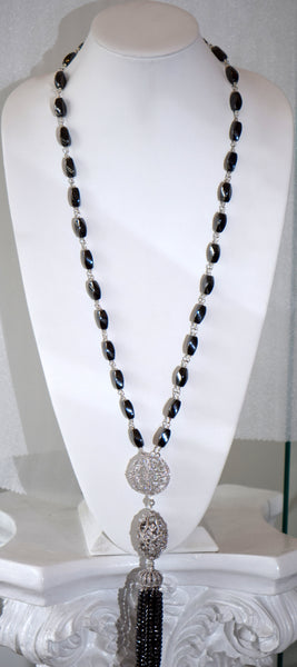 Long Hematite Necklace with Pave center piece And Tassel