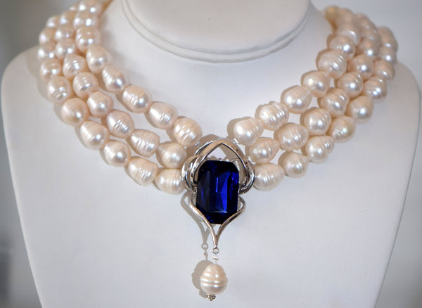 Diana - 3 Row Fresh water pearls necklace With Large Blue Cubic zirconia Center Pendant