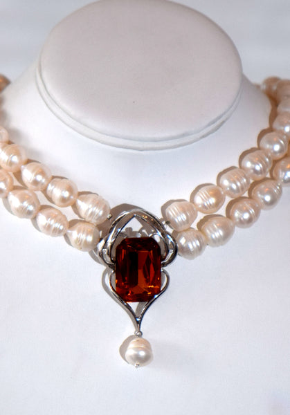Eugenie - Fresh water pearls 2 row Necklace With Cognac zirconia center pendant