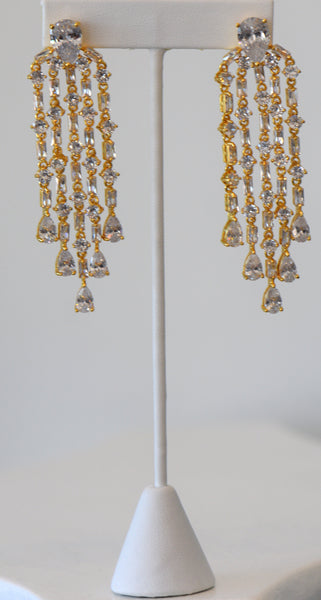 Gold Tassel Earring, Great Quality Cubic Zirconia For Wedding, Wedding Collection, Bridesmaid beautiful and very special