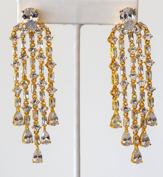 Heftsi Gold Plated Cubic Zirconia Tassel Earrings, Wedding Collection, Rent Or By