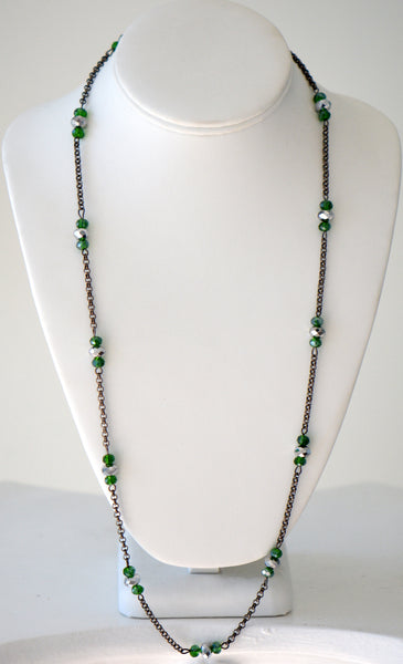 Chain with green and clear beads