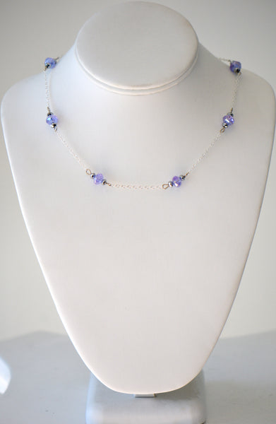 Purple And Silver Color Necklace, With Silver chain Very delicate