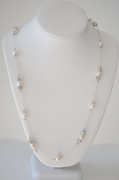 silver color Chain with pearls and clear crystal