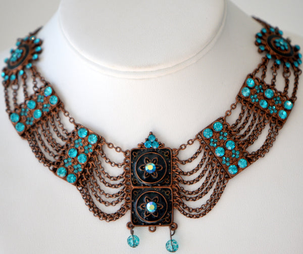 Copper and teal swarovski crystal choker