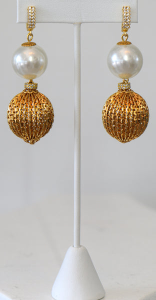 Large Gold Plated Ball Earrings And White Pearls