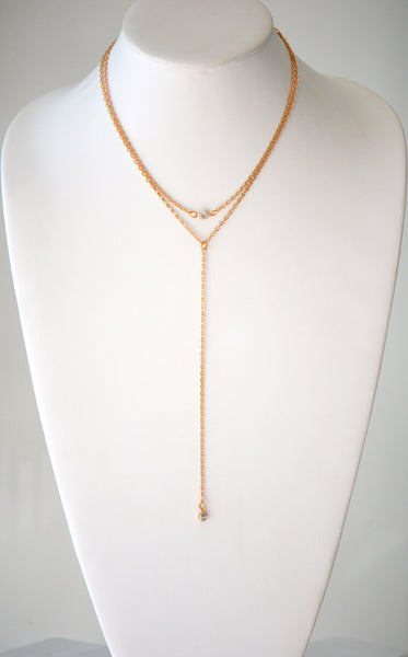 Gold Plated chain with single gem