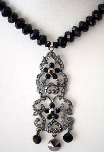 Black beaded necklace with pendant and matching set