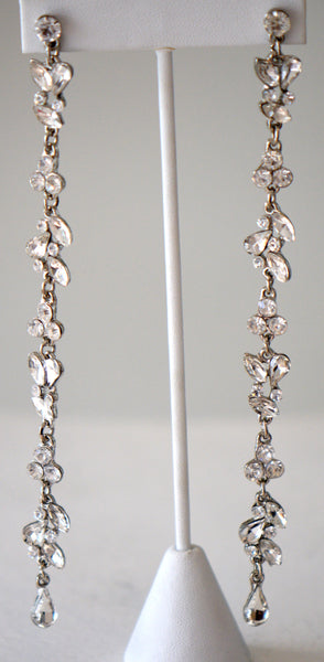 Long chocolate jeweled earrings