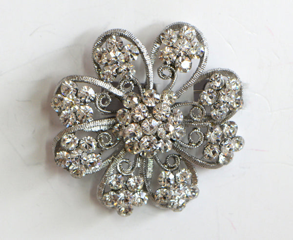 Heftsi Clear Rhinestone Flower Brooche