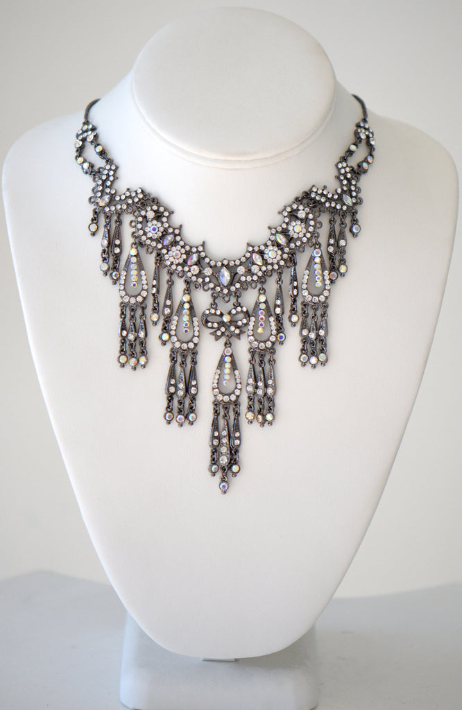 Clear Multi color Crystal Gem Evening Necklace