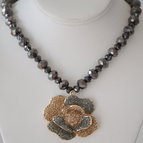 Large Rose In gold and black stone with dark grey crystal beads matching set