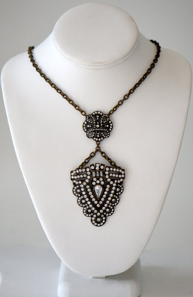 Brass chain with jeweled pendant