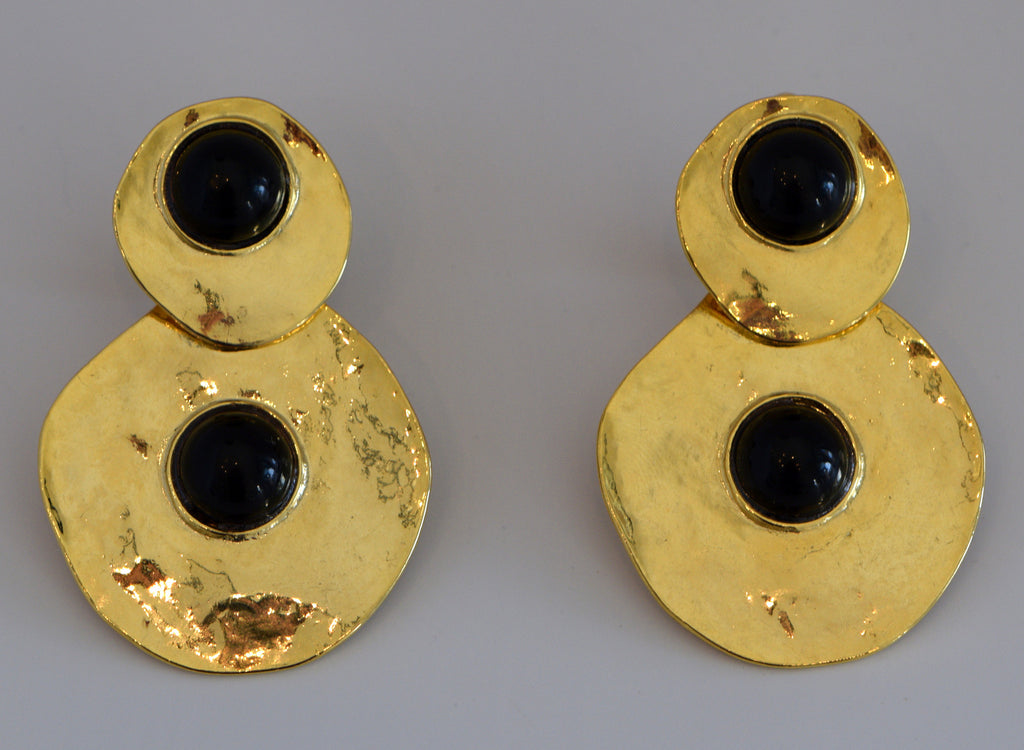 Heftsi Vintage Gold and Black Earrings