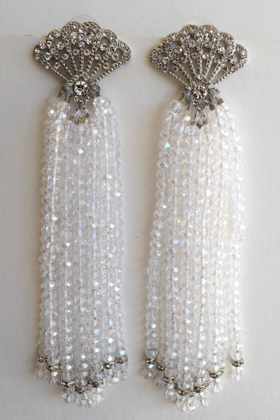 Heftsi Clear AV Crystal Wedding Tassel Earrings