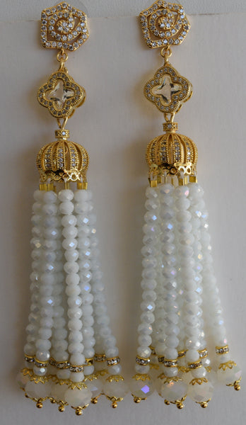 Heftsi White Crystal Wedding Tassel Earrings in gold