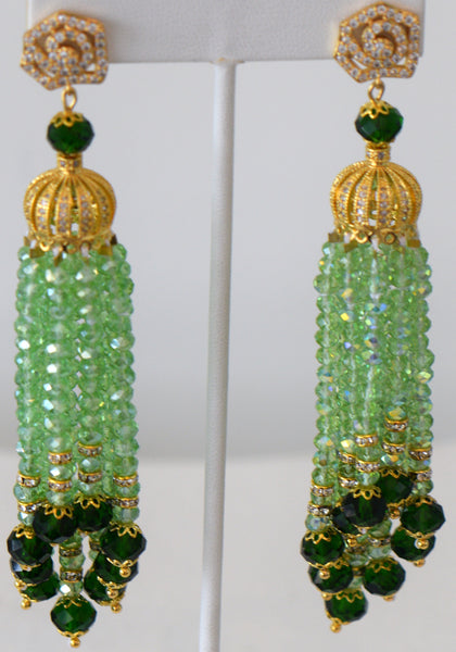 Heftsi Light Green Tassel Earrings